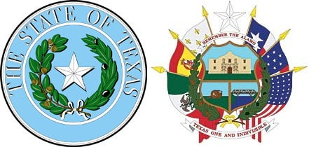the front and back of the State of Texas seal