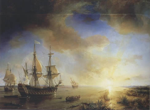 Old ships approaching land lit by sunrise
