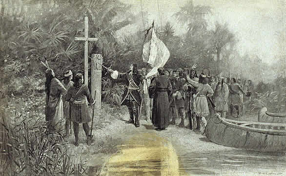 an explorer holding a flag and sword, pointing to a wooden cross and claiming new lands in the name of king and Christianity; Native Americans watch