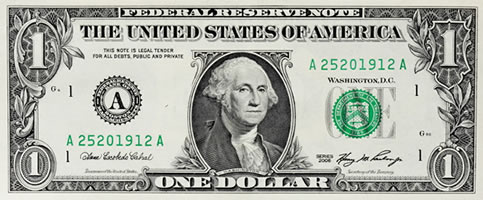 a one-dollar bill featuring George Washington's portrait