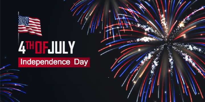 """a poster showing fireworks and a U.S. flag, with the text """"4th of July, Independence Day"""""""