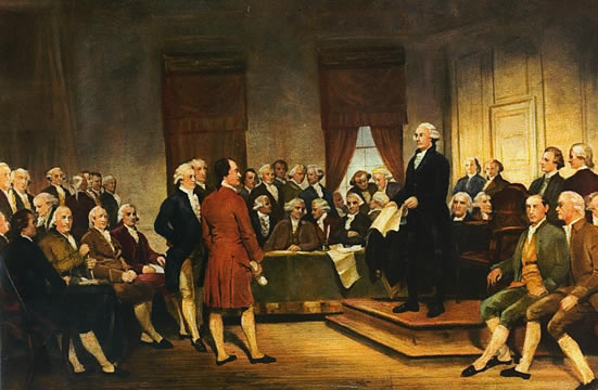 George Washington addressing the delegates at the Constitutional Convention