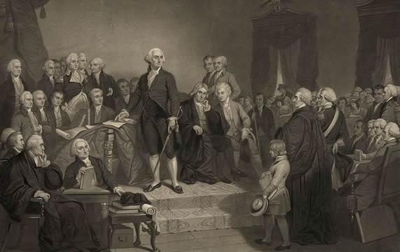 George Washington on a platform, speaking to a group of men