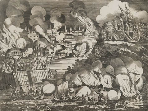 war scene with a city on fire, cannons shooting with American flags flying, boats approaching a beach