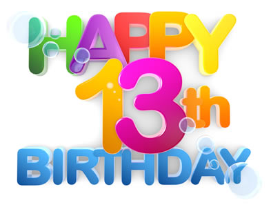 """colorful poster saying """"Happy 13th birthday"""""""