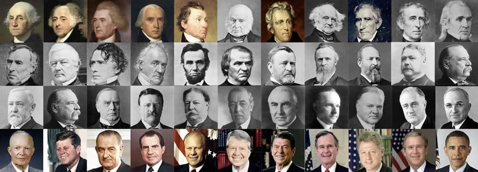 collage of the faces of the first 44 U.S. presidents