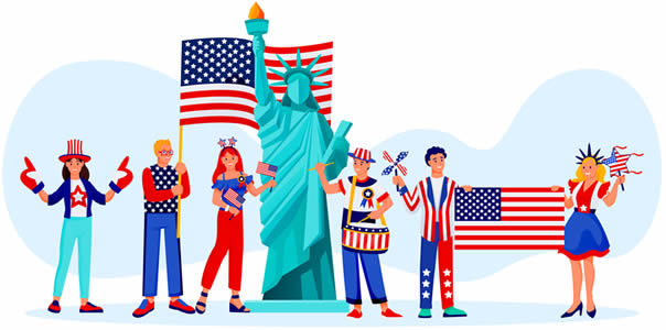 cartoon of people dressed in costume with red, white, and blue stars and stripes, with American flags and the Statue of Liberty