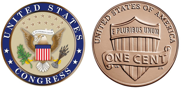the Congressional Seal with the bald eagle and an E. Pluribus Unum banner; the back of a U.S. penny