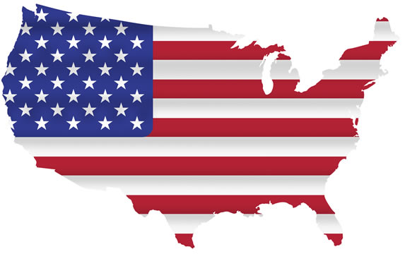 map of the United States with American flag pattern