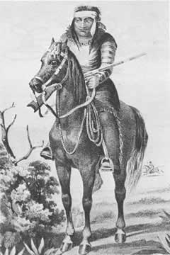 sketch of an Apache Indian on horseback