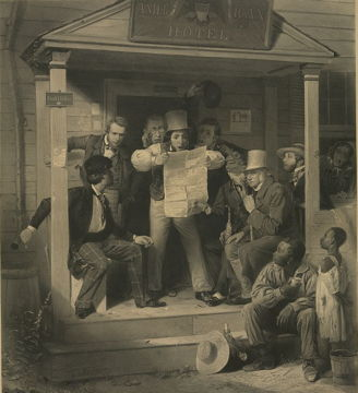 print of a group of men on a porch reading the newspaper together